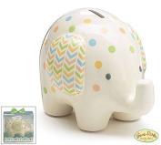 Burton and Burton Ceramic Bank Elephant, White with Polka Dots, 15cm H