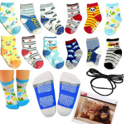 Yaobaby 6 Pairs 12-36 months Unisex Baby Boy Toddler Non-Skid Slip Cosy Soft Crew Boat Socks and Gift , Stripes No-Show Crew Boat Socks Footsocks sneakers
