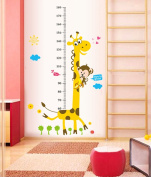 ufengke® Cartoon Cute Giraffe and Monkey Height Chart Decals, Children's Room Nursery Removable Wall Stickers Murals