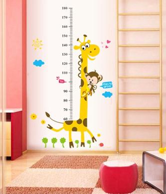 ufengke® Cartoon Cute Giraffe and Monkey Height Chart Decals, Children's Room Nursery Removable Wall Stickers Murals