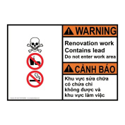 ComplianceSigns Plastic ANSI WARNING Renovation Work Contains Lead Sign, 25cm X 18cm . with English + Vietnamese Text and Symbol, White