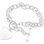 Sterling Silver 20cm Cable Bracelet With Toggle And Heart