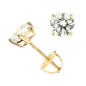 14K Solid Gold Round Cut Cubic Zirconia Stud Earrings with screw back posts (1.8 ctw, Diamond Equivalent), Gift Box