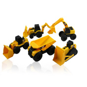 CAT Mini Machine Caterpillar Construction Truck Toy Cars Set of 5, Dump Truck, Bulldozer, Wheel Loader, Excavator and Backhoe Free-Wheeling Vehicles w/Moving Parts + City Stickers -Great Cake Toppers