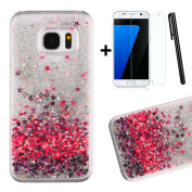 Tebeyy Samsung Galaxy S7 Case,[Clear Crystal] 3D [Liquid Flowing] Sparkle Glitter Floating Star Design Case for Galaxy S7,Bling Quicksand Hard Shell Back Case Cover for Samsung Galaxy S7 with 1 x Screen Protector & 1 x Stylus-Red Hearts