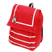 Fletion Fashion Sweet Stripe Canvas Backpack Travel Daypack Knapsack Large Capacity Computer Rucksack Schoolbag with Badge Red
