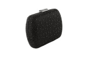Anna Cecere - clucth satin with elegant micro studs, ideal for wedding and ceremonies - Black