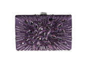 Anna Cecere - clucth satin with elegant beads and crystal, ideal for wedding and ceremonies - Purple