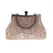 WILLTOP Beaded Luxury Magnet Clasp Top Handle Bridal Party Clutch Bag with Chai