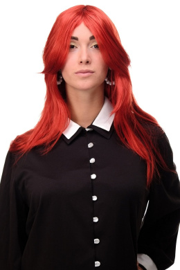 WIG ME UP ® 3110-137 Lady Quality Wig Cosplay very long medium length long bangs worn as side parting straight layered bright red mixed approx 70cm