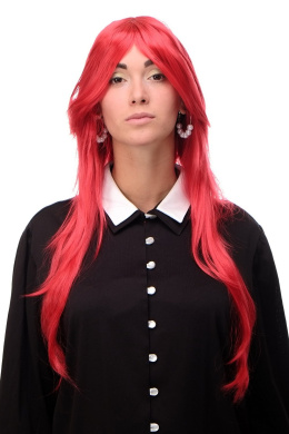 WIG ME UP ® 3110-T1664 Lady Quality Wig Cosplay very long medium length long bangs worn as side parting straight layered bright red approx 70cm