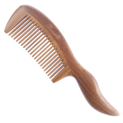 Breezelike No Static Big Size Thick Wavy Pointed Handle Green Sandalwood Comb
