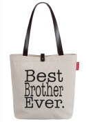So'each Women's Best Brother Ever Letters Top Handle Canvas Tote Shoulder Bag