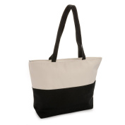 TWO TONE BLACK & CREAM MONOCHROME STYLE ZIPPED TOTE BAG AB30461