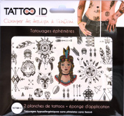 TATTOOID Temporary Tattoo Siou Indian. 2 slides + 1 cosmetic sponge