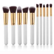 Evermarket 10pcs Kabuki Style Professional Make up Brush Set Foundation Blusher Face Powder