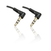 CDL Micro 1m Slimline 90 Degree (Both Ends) 3.5mm Stereo Jack Plug Male Right Angle Cable - Black