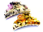Lapeach Fashions Gorgeous Epoxy Flower Print 9cm Hair Clamp Clips Grips Hair Claw Set Of Two