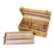 US Art Supply® Artist Wood Pastel, Pen, Marker Storage Box with Drawer(s)
