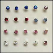 Pack Of 20 Sterling Silver Claw Set Nose Studs Assorted Colours 3mm