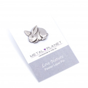 Bunny pewter pin badge by Luna London, UK. Gift