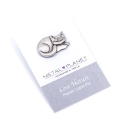 Curled cat pewter pin badge by Luna London, UK. Gift