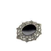 loveyourdiamonds Markasitbesetzte Women's Brooch with Large Round Onyx Stein