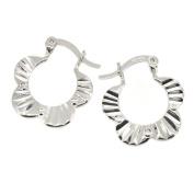 Pheobe Flower Sunray Creole Earrings in Sterling Silver