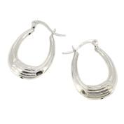 Stripe Creole Earrings in Sterling Silver