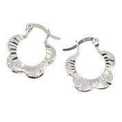Blossom Flower Creole Earrings in Sterling Silver