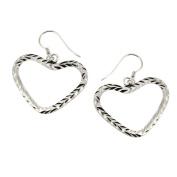 Hearts Creole Earrings in Sterling Silver