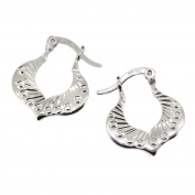 Teardrop Creole Hoop Earrings in Sterling Silver