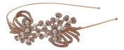 Pick A Gem Wedding Hair Accessories. Crystal and Pearl Flower Cluster Headband / Side Tiara / Rose Gold Finish
