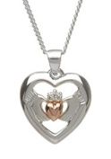 925 Sterling Silver Celtic Claddagh Pendant Necklace with Rose Gold Heart on 46cm chain