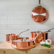 Set of 4 Copper Pans with Lids Frying Pan Pots Saute French