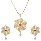 24k Gold Plated Designer Floral Pendent Set in Unique Wheel Pattern Studded with CZ & Ruby. For Womens / Girls