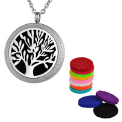 VALYRIA Aromatherapy Essential Oil Diffuser Necklace-Tree of Life Stainless Steel Pendant Locket