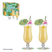 Pina Colada Boxed Cocktail Gift Set Drinking Glasses Umbrellas Flamingo Stirrers Straws Coasters Tropical Party Accessories