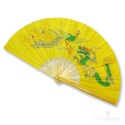 Nature Bamboo Handle Folding Fan Tai Ji Kung Fu Martial Art & Dancing Prop with Beautiful Printed Oriental Pictures on-dragon & phoenix-yellow