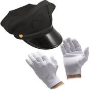 MEN'S 2PC BLACK CHAUFFEUR HAT GLOVES LIMO DRIVER FANCY DRESS COSTUME ACCESSORY