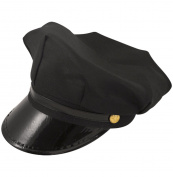 MEN'S BLACK CHAUFFEUR HAT LIMO DRIVER FANCY DRESS COSTUME ACCESSORY