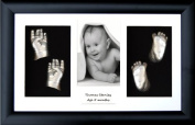 New Baby Plaster Casting Kit (Large / Twins) Black Box Display Frame, Silver paint by BabyRice