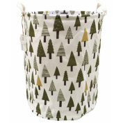 Sea Team 50cm x 40cm Large Sized Folding Cylindric Waterproof Coating Canvas Fabric Laundry Hamper Storage Basket with Drawstring Cover, Tree