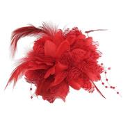 Flower Feather Bead Wrist Corsage Bridal Hair Clip Pin Brooch Headpiece