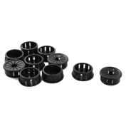 25mm Black Plastic Cable Pipe Snap Lock Bushing Protector Grommet x 10