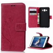 J5 Case(Only for 2016 Version)-Badalink Colourful Painting PU Leather Notebook Design Flip Cover Folio Inlaid Inner Soft TPU Case with [Card Slot] [Built Stand] [Magnetic Closure][Wallet Function] Protective Skin Durable Case for Samsung Galaxy J5 2016 ..