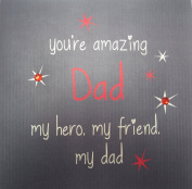 """white cotton cards """"You're Amazing Dad My Hero My Friend My Dad"""" Hand Embellished Father's Day Card"""