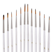 Mudder 12 Pieces Detail Paint Brush Set Miniature Artist Painting Brushes for Art Painting, White