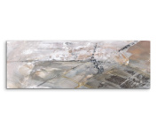 120 x 40 CM Panorama Wall Picture Abstract Canvas Art Grey Black / White Streaks
