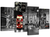 Canvas Prints of a Red London Night Bus on a Black and White Background for your Living Room - Cheap 4 Part British City Wall Art - 4208 - Wallfillers®